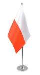 Poland Desk / Table Flag with chrome stand and base